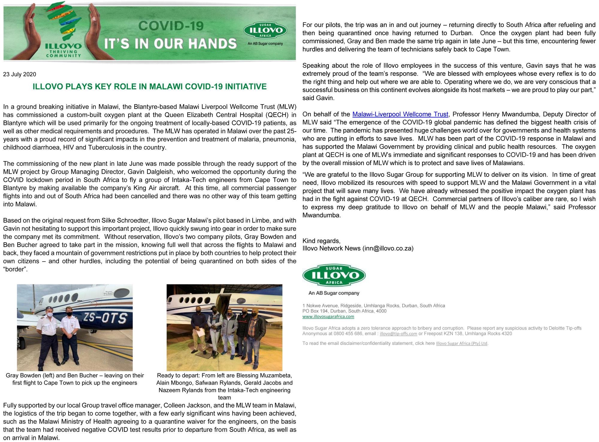 Illovo Newsletter – Intaka Gas Installation